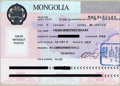 Mongolia Visa (roarkster) Tags: passport visa stamp mongolia mongolian asia