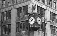 Time... (Alex Luyckx) Tags: chicago illinois downtown urban city loop details architecture cta buildings fall vacation trip minolta minoltamaxxum9 maxxum9 slr 135 35mm minoltamaxxumafmacro100mm128 macodirect rollei rolleirpx400 rpx400 asa320 photographersformulary pyrocathd 11100 nikoncoolscanved adobephotoshopcc bw blackwhite film filmphotography believeinfilm filmisalive filmisnotdead