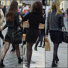 Black again ! (Legs in the city) Tags: egs ankles thighs skirt heels boots high miniskirt stockings tights back beauty femininity girls girl woman women hair pumps class classy elegance elegant sexy sexyness