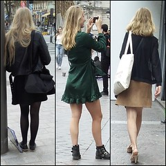 Blondes again (Legs in the city) Tags: egs ankles thighs skirt heels boots high miniskirt stockings tights back beauty femininity girls girl woman women hair pumps class classy elegance elegant sexy sexyness