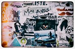 Affiches Graffiti (Katrina Wright) Tags: france montmartre paris dsc5322edit graffiti streetart notices moiaussi fuckartletsdance madame moustache sliderssunday processing hss