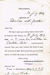 Notice Quit Rent due sent from Pomeroy & Son, solicitors, to James Chatten, Carelton Rode, Norfolk 20th July 1903 (North West Kent Family History Society) Tags: letter jameschatten elmfarm carletonrode attleborough pomeroyson solicitors wymondham norfolk ecbdcollection born 1829 winfarthing son robertchatten mariawiles married charlotteslackmoore 6thjanuary1865 forncettstpeter farmer 1911census elmsfarm died 1914 £11s8d