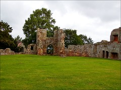 Moreton Corbet Castles with Lizzie 130719 ©Liz Callan (11) (Liz Callan) Tags: moretoncorbetcastle shropshire enlishheritage lizzie lizcallan lizziecallanphotography grass walls ruins castle trees church