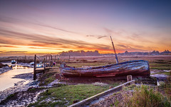 Winter sunrise over Thornham Harbour (dpowley65) Tags: clouds harbour lowtide sunrise thornham dramaticsky skyporn bigsky dawn wreck boats