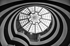 At the Guggenheim Museum in NYC. (WilliamND4) Tags: nyc museum ceiling window modern architecture blackandwhite nikon d750