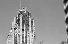 Tribune (Alex Luyckx) Tags: chicago illinois downtown urban city loop details architecture cta buildings fall vacation trip minolta minoltamaxxum9 maxxum9 slr 135 35mm minoltamaxxumafmacro100mm128 macodirect rollei rolleirpx400 rpx400 asa320 photographersformulary pyrocathd 11100 nikoncoolscanved adobephotoshopcc bw blackwhite film filmphotography believeinfilm filmisalive filmisnotdead