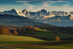 Let's go see an Autumn  Twilight Time . The  Swiss Alps , a  view from Gurten. Canton of Bern , Switzerland. No, 0103. (Izakigur) Tags: gurten berneroberland bern berna berne berneseoberland autumn jungfrau europa eiger swiss lasuisse laventuresuisse liberty ilpiccoloprincipe nikkor nikond200 twilighttime suiza sunset coucherdesoleil myswitzerland mountain mönch feel flickr switzerland 1000faves europe izakigur light twilight
