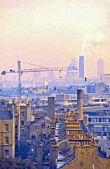 St. Paul's in the Distance (AntyDiluvian) Tags: england greatbritain britain london vintage 1973 hotel londonparkhotel elephantandcastle view stpaul cathedral skyline chimneypots