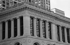 PVBLIC (Alex Luyckx) Tags: chicago illinois downtown urban city loop details architecture cta buildings fall vacation trip minolta minoltamaxxum9 maxxum9 slr 135 35mm minoltamaxxumafmacro100mm128 macodirect rollei rolleirpx400 rpx400 asa320 photographersformulary pyrocathd 11100 nikoncoolscanved adobephotoshopcc bw blackwhite film filmphotography believeinfilm filmisalive filmisnotdead