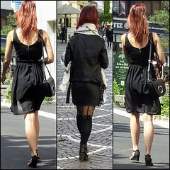 Red hair (Legs in the city) Tags: egs ankles thighs skirt heels boots high miniskirt stockings tights back beauty femininity girls girl woman women hair pumps class classy elegance elegant sexy sexyness