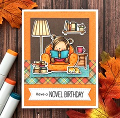 Have a Novel Birthday (The Queen's Scene) Tags: card cardmaking papercrafting stamping mftstamps myfavoritethings ourstory reading birthdaycard handmadecard