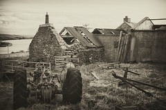 abandoned farm (johnny_9956) Tags: abandoned derelict urbex tractor ruin farm scotland canon uk 7d outside outdoor sepia blackandwhite bw building