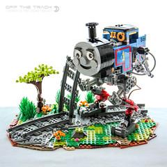 I'm off the track now!! (dvdliu) Tags: lego moc mech mecha walker thomas train