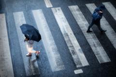 L'échange sur le passage piétons (Paolo Pizzimenti) Tags: échange passage piétons cuisinier gare klein stlazare paolo paris olympus zuiko 25mm f18 film pellicule argentique photolab3 dosineau