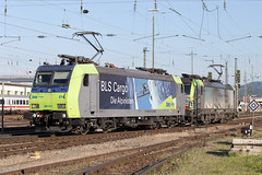 BLS Re 485 014 + 475 402 Basel Bad (daveymills37886) Tags: bls re 485 014 475 402 basel bad baureihe bombardier traxx ac1 vectron