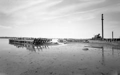 (Mitch Goddard) Tags: statenisland charleston pinhole lensless abandoned urbex urbanexploration trespassing shore beach bridge shoreline arthurkill outerbridgecrossing zeroimage 6x9 ilford fp4 rodinal