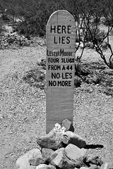Boothill graveyard Tombstone (Dave Russell (1.5 million views thanks)) Tags: boot hill boothill cemetery graveyard grave yard marker wood wooden tombstone arizona usa united states america history historic old outdoor travel tourism trek trekking photo photograph photography bw blackandwhite black white mono monochrome lester moore shot shoting cochise county city outlaw outlaws