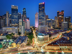 Urban nightscape (Rexer Ong) Tags: city night sky building cbd skyscrapper lights trails nightscape colour sea middlepath tall urban