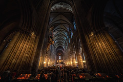 Strasbourg Cathedral - France (Patrik S.) Tags: inside candles cathedral church historic roman catholic sony a7iii alpha a7m3 los light huge france stasbourg gothic architecture alsace romanesque europe cross high ceiling ngc pillar night dark notredame art god sunday worship jesus christ christian love