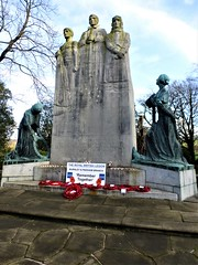 🌺🌺Cenotaph Towneley Park, Burnley = LEST WE FORGET🌺🌺.      Made of Portland Stone flanked by bronze figures = WE WILL REMEMBER THEM (rossendale2016) Tags: park day lancashire poppies british cenotaph remembrance legion burnley towneley public well used liked world never war remember first council sacrifice forget behalf church soldier army navy scouts soldiers sailor airforce flyers guides pilot raf kept service revered old sculpture art monument stone artist sculptural iconic crafted hour month eleventh padiham 🌺🌺🌺🌺🌺 farewell affection grateful honour remembering gratefulness us others ships airplanes save brave fighters bullets tanks died sea cannon shot machine down guns dogfight