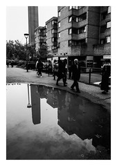 FILM - Puddle (fishyfish_arcade) Tags: 35mm 800asa acros analogphotography bw blackwhite blackandwhite filmphotography filmisnotdead fujifilm istillshootfilm london monochrome olympusom1 zuiko28mmf35 analogcamera film mono pushed puddle reflections streetphotography