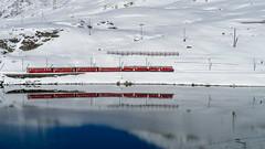 Lago Bianco: reflected red (3/3) (jaeschol) Tags: 52 56 abe44iii berninapass eisenbahn elektrischertriebwagen europa europe graubuenden grischuna kantongraubünden kontinent schweiz suisse switzerland transport triebwagen chemindefer railroad railway