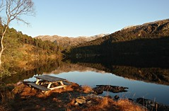 SAM_3161 (magneroed) Tags: reflection forest trees water lake table autumn sørlivatnet sørlia fitjar norway sun shadow november