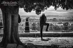 Le garde forestier regarde l'horizon (AlbertoJCasado) Tags: vigilante horizonte blanco y negro bn córdoba medina azahara