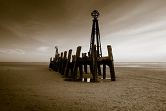 The End of a Pier (aidy14) Tags: beach stannes pier sepia landscape sea lancashire fylde