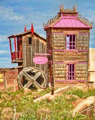 Miss Molly's House of Negotiable Affection, Virgin, Utah (PhotosToArtByMike) Tags: missmolly'shouseofnegotiableaffection fortziongiftshoppettingzoo utah ut limestone erosion canyon scenic desert goldensandstone rockspires landscape rockformations desertlandscape digitalpainting digitalart painting photopainting