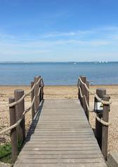 Osborne House Beach, Isle of Wight, England (alexdavidwriter) Tags: cowes isleofwight hampshire england britain uk beach sea water blue solent pier sand ocean sky nature seaside planks wooden summer