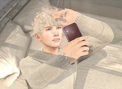 selfie. (luciano s. toretto-king) Tags: gay selfie second life secondlife sl virtual art pose wrong deadwool tram men male boy model 3d bedroom selfies phone avi avatar blog blogpost post blogger shadow shadows lighting lgbt mood sweater curly hair shopping shop photo artwork catwa mesh game spam bento photography blonde fashion world digital lights light iphone camera