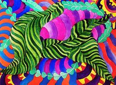 Watercolor Painting (Imara U.) Tags: watercolor watercolors aquarela pintura colorful colors color colorido cores cor curves creation creative curvas contemporaryart caneta circles pattern painting estampa art arte artista artist abstract artnouveau
