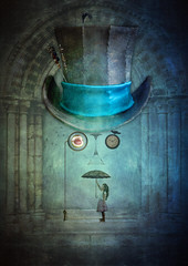 Monocled Gent (Johnny_7) Tags: surreal composition monocle top hat gent impression arch crows birds girl umbrella mystery curious ethereal