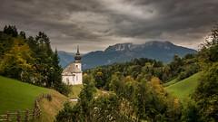 Watzmann Mountain view (hjuengst) Tags: watzmann mountain berchtesgaden bavaria bayern clouds cloudy wolken wolkig mariagern church kirche kapelle berge