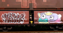 Graffiti on Freights (wojofoto) Tags: freighttraingraffiti freighttrain fr8 freights cargotrain vrachttrein güterzug graffiti streetart amsterdam nederland netherland holland wojofoto wolfgangjosten throws throwup throwups