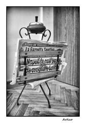 Ash tray (Artico7) Tags: vintage ash tray old gone raibl museum museo cace del predil cavedelpredil giornale news paper newspaper lagazzettasportiva monochrome digital fuji xe1 bw blackwhite blackandwhite biancoenero smoke cigarettes stand seel button friuli ud