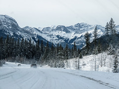 Heading into Kananaskis (annkelliott) Tags: alberta canada wofcalgary sibbaldcreektrail highway68 landscape scenery hill mountain road highway vehicle car two friends trees forest mountainslope mountainside snow snowcovered takenthroughwindshield outdoor fall autumn 7november2019 canon sx60 canonsx60 powershot annkelliott anneelliott ©anneelliott2019 ©allrightsreserved