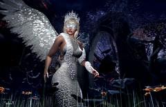 White Angel (Sadwolf SL Photos) Tags: tlc enchantment titans thelookingglass angel arch whitedress boa crown blindfold gothictree wings sl slphotographer slblogger virtualworld avatar slfemalemodel bento mesh pose slfashion slnewreleases