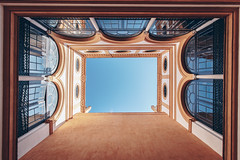 Clear Blue Sky (Bunaro) Tags: royal alcazar españa building up architecture real sevilla spain europe looking palace seville andalucia symmetry visitspain visitseville travel blue sky orange reflection colors canon eos counter courtyard clear rp 1635 canonrp