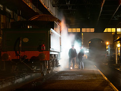 Late Night in the Steam Engine Shed (davepickettphotographer) Tags: steam greatwesternrailway museum heritage centre loco locomotives travel timeline events reenactors reenactment period clothing workers rail oxfordshire oxford smoke night photography nighttime evening work workshop people gwr steamengine shed didcot railways lamps railwaymen railway event steamheritage