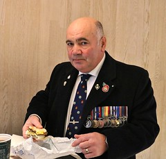 A hearty breakfast prior to the Remembrance Service..... (markwilkins64) Tags: remembrance remembrancesunday portraiture portrait streetportrait streetphotography street medals mcdonalds london kensingtonhighstreet kensington uk eyecontact markwilkins
