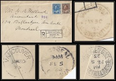 British Columbia / B.C. Postal History / Registered Letter - 30 January / 5 February 1923 - VANCOUVER SUB OFFICE CEDAR COTTAGE, B.C. (cds cancel / postmark) to Montreal, Quebec (Treasures from the Past) Tags: circulardatestamp postalwayoffice postmaster postoffice britishcolumbia postalhistory bc county splitring brokencircle splitcircle postmark cancel cancellation marking son mail letter stamp canada britishcolumbiapostalhistory canadapost cedarcottage epworth suboffice geraldallienholland montreal quebec