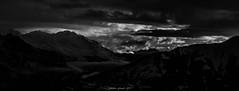 Glorious Morning (N/B) (Frédéric Fossard) Tags: panorama paysage landscape montagne mountain cimes crêtes arêtes alpes savoie vanoise maurienne matin morning sunrise leverdujour leverdesoleil hiver winter sky ciel nuage cloud monochrome noiretblanc blackandwhite light lumière ombre shadow vallée valley mountainscape