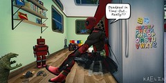 Daddy Time Out 😆 (Kaelin's SL Adventures) Tags: secondlifephotography slkids secondlifechildhood secondlife parents timeout deadpool cartoons hero father parent family comicbook nomad toys