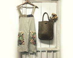 Crossback Apron - Japanese Apron - Linen Apron - Linen Smock - Country Chic Apron - Rustic Linen Apron - Upcycled Clothing for Women by PrimitiveFringe (Primitive Fringe) Tags: upcycled clothing boho shabby chic handmade etsy mori girl