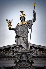 Pallas Athene Statue (Beatrix MK) Tags: pallasathene austrian parliament building austria vienna wien europe greek goddess wisdom art statue gold
