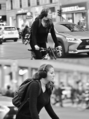 [La Mia Città][Pedala] (Urca) Tags: milano italia 2018 bicicletta pedalare ciclista ritrattostradale portrait dittico bike bicycle nikondigitale tina biancoenero blackandwhite bn bw 2018101540