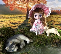 """The Wolf & the Seven Little Kids"" BaD 11/10/19 (Foxy Belle) Tags: wolf lamb animal diorama miniature fairy tale plants grass doll petite blythe tree november 10 2019"