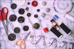 Buttons and Thread (flashfix) Tags: november102019 2019inphotos flashfix flashfixphotography ottawa ontario canada nikond7100 40mm scissors measuringtape buttons thread pins colours flatlay round thimbles curled colourful highkey sizes lines